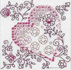 Tender Heart Blackwork Kit By Riolis Motifs Blackwork, Blackwork Cross Stitch, Blackwork Embroidery, Cross Stitch Samplers, Cross Stitch Kits, Cross Stitch Designs, Cross Stitching, Cross Stitch Embroidery, Cross Stitch Patterns