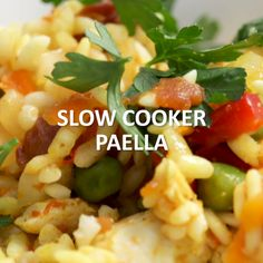 Our Slow Cooker Paella has all the flavors of a traditional paella without the hassle. Click the video for the full recipe! Our Slow Cooker Paella has all the flavors of a traditional paella without the hassle. Click the video for the full recipe! Slow Cooker Recipe Videos, Slow Cooker Recipes, Crockpot Recipes, Chicken Recipes, Recipe Chicken, Diner Recipes, Gourmet Recipes, Cooking Recipes, Healthy Recipes