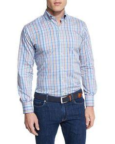 Crown Pin-Plaid Long-Sleeve Sport Shirt
