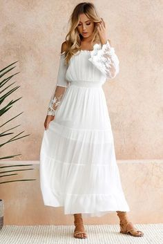 Chic Off Shoulder Embroidered Flared Sleeve White Lace Maxi Dress, Shop for cheap Chic Off Shoulder Embroidered Flared Sleeve White Lace Maxi Dress online? Buy at Modeshe.com on sale! Cheap Maxi Dresses, Boho Summer Dresses, White Maxi Dresses, Maxi Dress With Sleeves, Lace Sleeves, Elegant Dresses, Boho Dress, Sexy Dresses, Sheath Dress
