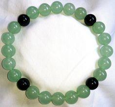 Aventurin Achat Onyx Heilstein Perlen Armband