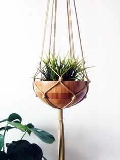 Gold Macrame Plant Hanger Hanging Planter by freefille on Etsy
