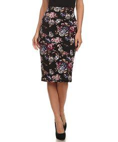Look what I found on #zulily! Black Floral Pencil Skirt - Women #zulilyfinds
