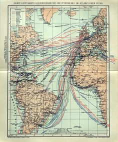 A German map of Atlantic steamship routes from 1895.