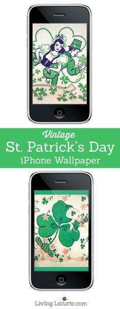 Vintage St. Patricks Day Free iPhone Wallpaper. Free download at LivingLocurto.com