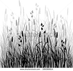 Silhouettes of grass, hand drawn vector illustration - stock vector