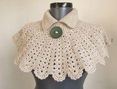 stone color crochet capelet