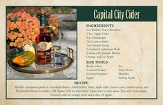 Capital City Cider Buffalo Trace, Apple Bars, Cocktail Mixers, Best Cocktail Recipes, Holiday Cocktails, Simple Syrup, Capital City, Distillery
