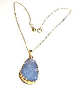 Druzy Pendant Necklace are a new jewelry design collection. Druzy is a coating of fine crystals on a rock fracture surface and these are all agates,