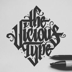 The viscious type - Typography // Lettering - Gothic Lettering, Graffiti Lettering Fonts, Hand Drawn Lettering, Typography Letters, Hand Typography, Graffiti Words, Hand Drawn Type, Types Of Lettering, Typography Quotes