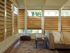 Like sunshine, the joyful shades of yellow are the perfect thing to see first thing in the morning. Alustra® Vignette® Modern Roman Shades. ♦ Hunter Douglas window treatments   #bedroom