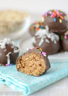 Peanut butter oatmeal cookie dough truffles. Something about oatmeal cookie dough gets me every time.