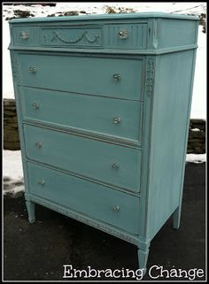 ASCP Provence chest of drawers with mercury glass drawer pulls