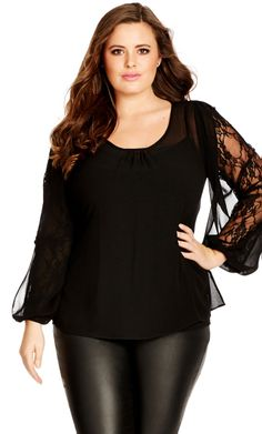 City Chic LACE BOW SLEEVE TOP - City Chic Your Leading Plus Size Fashion Destination