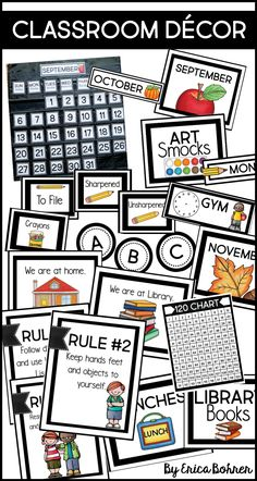 Classic, clean, simple, and crisp classroom decor.  Print these labels and signs to decorate your classroom.   Calendar labels for a pocket chart are included. Classroom Organization, Classroom Decor, Classroom Calendar, Back To School Activities, Educational Activities, Crisp, Create Your Own, Chart, Pocket