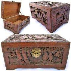 VINTAGE OLD WOOD WOODEN Jewelry Treasure BOX CARVED SCOONER SAIL Sea BOAT BOATS $1,575 ... we sell more VINTAGE and ANTIQUES COLLECTIBLE HOME DECORATIONS at http://www.TropicalFeel.com