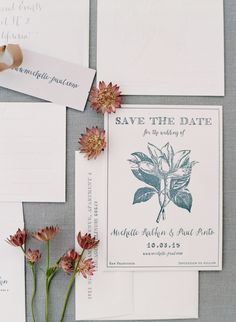 Slate blue wedding invitation suite: http://www.stylemepretty.com/2017/04/27/garden-inspired-city-hall-wedding-in-san-francisco/ Photography: Jose Villa - http://josevilla.com/