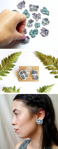 Japanese Abstract Flower Earrings | brush-painted on reclaimed leather  | SCANDINAZN