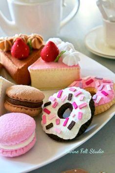 10 pc Felt Tea Party Starter Kit Felt Cake-Felt Food Pretend