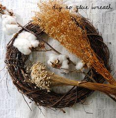 No Glue Wreath Crafty Projects: DIY No Glue Wreath, Southern Cotton