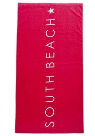 South Beach Slogan Velour Beach Towel