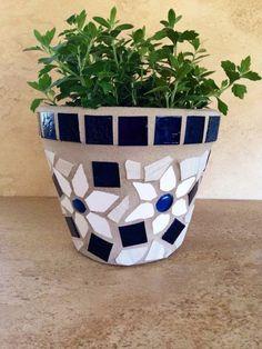 Planter flower pot blue glass mosaic planter outdoor patio