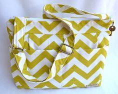 Camera Bag SLR, Lime Green Chevron / Chartreuse Zig Zag Stripe / Dslr Gear, womens purse, diaper bag, Padded  Insert / Darby Mack