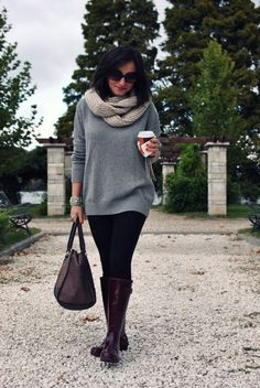 Leggings with a big slouchy sweater and cute boots. Comfy style - totally for me!