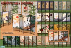 Set of oriental style silk screens with matching 4 panel wall screen. May be used as room dividers or decorative sculptures. Found in TSR Category 'Objects' The Sims 4 Pc, Sims Cc, Sims 4 Windows, Sims 4 Cc Folder, Sims 4 House Design, Oriental Fashion, Oriental Style, Sims 4 Build, New Animal Crossing