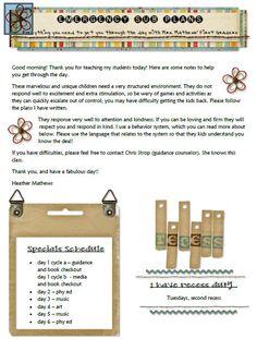 guest teacher plans/binder ideas