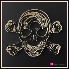 Skull and Crossbones Quilling Custom Order Halloween Decor that's one of a kind!