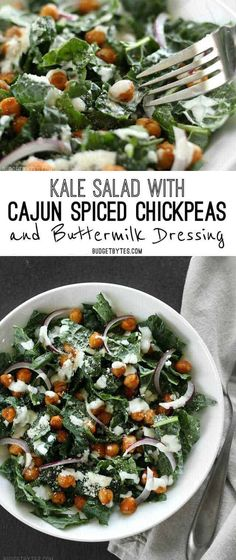 This kale salad is spiked with cajun spiced chickpeas, a tangy homemade buttermilk dressing, slivers of red onion, and a light dusting of Parmesan cheese. Vegetarian Recipes, Cooking Recipes, Healthy Recipes, Meal Recipes, Lunch Recipes, Delicious Recipes, Chicken Recipes, Dinner Recipes, Homemade Buttermilk