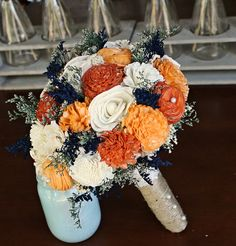 Alternative Bridal Bouquet - Orange and Ivory Wedding Bouquet, Sola flower bouquet, Alternative Bouquet, Keepsake Bouquet, Preserved Flowers, by CuriousFloralCrafts $131