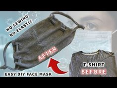 DIY Face Mask | Easy DIY Face Mask with T-shirt | No Sewing - No Elastic - YouTube