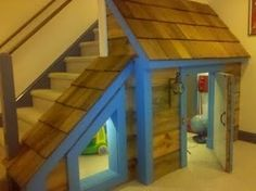 """under stair playroom....think of how to use """"roof"""" area near bottom of stairs so not wasted space, but like the idea of little wider play area"""