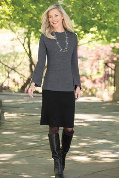 Popover Colorblock Sweater Dress By Nina Leonard | Chadwicks of Boston