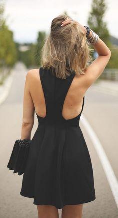 Stylish, summery little black dress