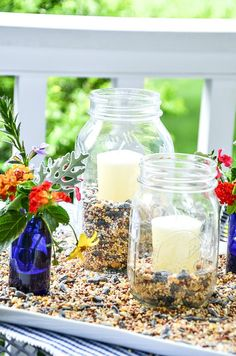 Make these beautiful outdoor candle lanters for patio and porch in under 20 minutes! They are pretty and will keep bugs away! Diy Candle Lantern, Outdoor Candle Lanterns, Mason Jar Lanterns, Citronella Candles, Vintage Sideboard, How To Make Lanterns, Gabel, Summer Diy, Summer Ideas