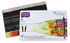 Derwent Academy Colored Pencils Metal Tin 36 Count 2300225 for sale online Derwent Pencils, Artist Pencils, Tin Art, Art Supply Stores, Drawing Letters, Pencil Sharpener, Metal Tins, Color Names, Wood Colors