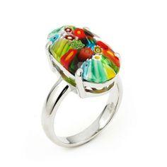 Millefiori Faceted Multi Color Oval Ring Millefiori. $63.80