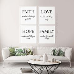 Family signs,Family home decor,Family quotes,Set of 4 prints,Faith makes all things possible,Home decor,Home sign,Printable wall art,Prints by PrintableLoveStory on Etsy Bedroom Prints, Bedroom Wall, Bedroom Decor, Office Prints, Office Wall Art, Kitchen Prints, Kitchen Wall Art, Family Signs, Family Quotes
