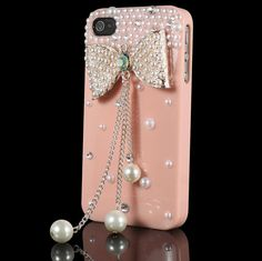 Orange 3D Bling Crystal Bow Pearl Rhinestone Hard Case Cover For iPhone 4G/4S