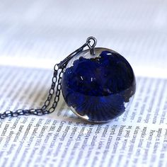 Resin Necklace with Azurite Oxidized Silver Chain Mineral