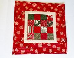 Winter Christmas Quilted Table Topper in Red and Green, Christmas Table Mat Quilt, Holiday Quilted Candle Mat, Snowflake Table Runner