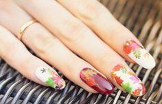 Autumn Leaves Nail Art Water Slide Tattoo Sticker:Crimson Leaves And Flowers: Maple / Rowan / Hawthorn / Sunflower- 3 Pack With Bonus : Nail Polish : Beauty