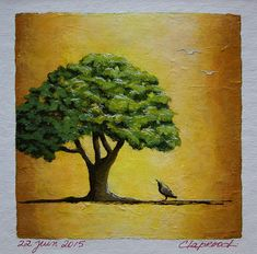 Small painting of a green leafy tree and bird, orange ocher and green art, original art, 6x6 acrylic painting within an 11x14 inches mount