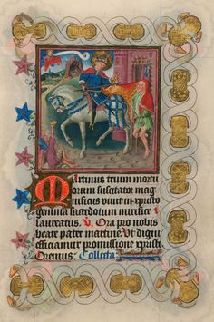 Martin Dividing his Cloak with a Beggar Medieval Horse, Medieval Art, Medieval Manuscript, Illuminated Manuscript, St Martin Of Tours, Medieval Paintings, Bible Covers, Sculpture Painting, Book Of Hours