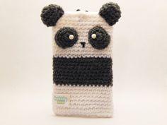 Amigurumi Panda Phone Case Pouch by BubblyTeaShop on Etsy