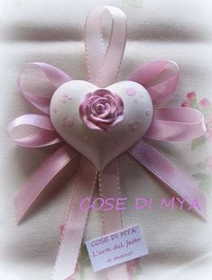 GESSI PROFUMATI SEGNAPOSTO Communion Favors, Fabric Hearts, Satin Flowers, Clay Ornaments, Polymer Clay Flowers, Soap Packaging, Shabby Chic, Wedding Favors, Gift Tags