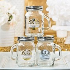 Glass Mason Jars with handle from our Personalized Metallics Collection